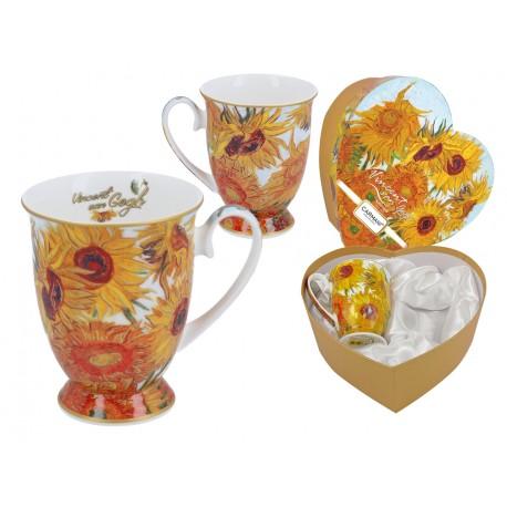 Kpl. 2 kubków w sercu - V. Van Gogh. Słoneczniki