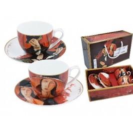 Kpl. 2 filiżanek ze spodkami - A. Modigliani Kobieta w kapeluszu i Mario Varvogli