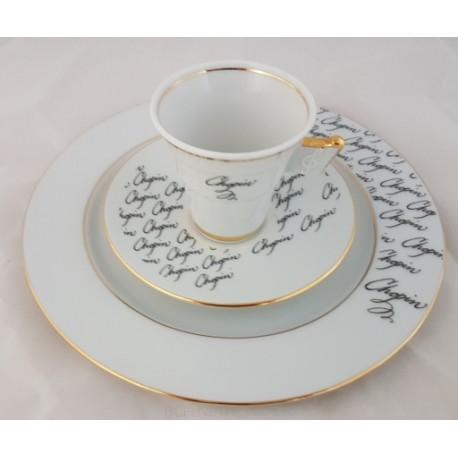 BOGUCICE Fryderyk Chopin zestaw śniadaniowy black dla 1 osoby 3 elementy