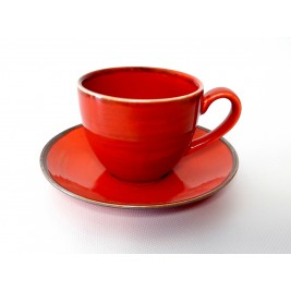 Porcelana Alumina Nostalgia Red Filiżanka ze spodkiem 300 ml