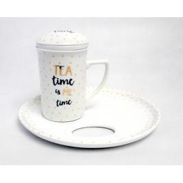 Kubek z zaparzaczem i spodkiem 250 ml - Tea Time Porcelana Bogucice