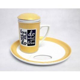 Kubek z zaparzaczem i spodkiem 250 ml - Love Porcelana Bogucice