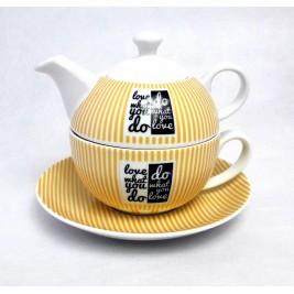 Zestaw Czajniczek z filiżanką 300 ml - Love Porcelana Bogucice