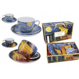Komplet 2 filiżanek ze spodkami 250 ml - Taras kawiarni nocą i Gwiaździsta Noc Vincent Van Gogh
