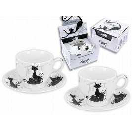 Komplet 2 filiżanek espresso ze spodkami 100 ml - koty czarno-białe