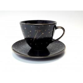 Filiżanka jumbo ze spodkiem 450 ml Zodiak Black Porcelana Bogucice