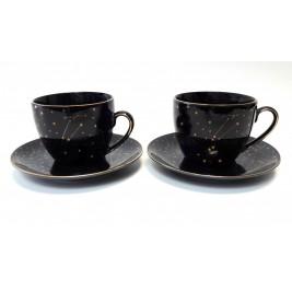 Zestaw 2 filiżanek ze spodkami 250 ml Zodiak Black Porcelana Bogucice