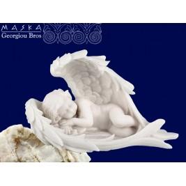 Aniołek śpiący w skrzydłach-alabaster grecki 14x7.5x5cm