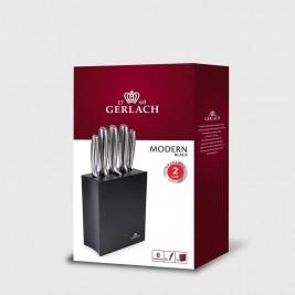 GERLACH Modern zestaw noży kuchennych w bloku czarnym