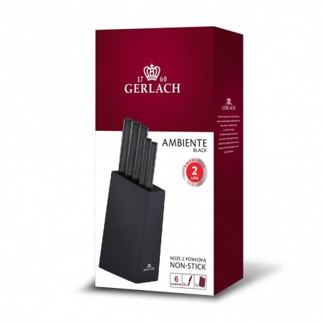 GERLACH Ambiente Black zestaw noży kuchennych w bloku